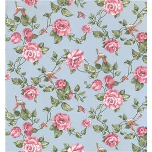 York Wallcoverings Floral Colourful Wallpaper - Blue