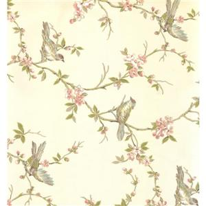 York Wallcoverings Floral Colourful Wallpaper - Beige/Green