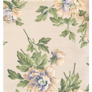York Wallcoverings Floral Colourful Wallpaper - Cream/Green