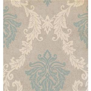 York Wallcoverings Damask Traditional Wallpaper - Cream/Green