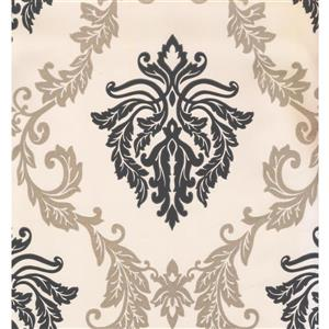 York Wallcoverings Damask Traditional Wallpaper - Cream/Black
