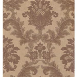 York Wallcoverings Damask Traditional Wallpaper - Cream/Bordo