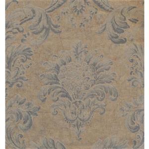 York Wallcoverings Damask Traditional Wallpaper - Blue/Beige