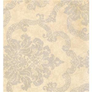 York Wallcoverings Damask Traditional Wallpaper - Cream/Grey