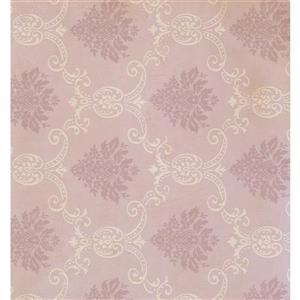 York Wallcoverings Damask Traditional Wallpaper - Cream/Pink