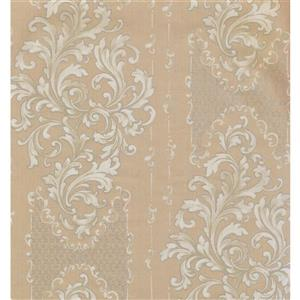 York Wallcoverings Damask Traditional Wallpaper - Cream/Bordo