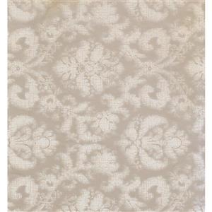 York Wallcoverings Damask Traditional Wallpaper - Cream/Brown
