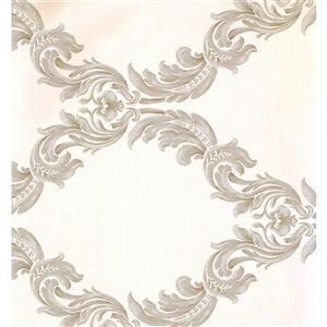 York Wallcoverings Damask Traditional Wallpaper - Cream/Brown