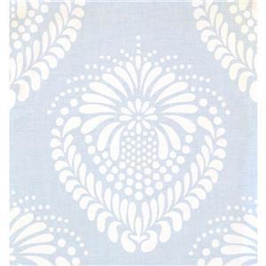 York Wallcoverings Damask Traditional Wallpaper - Blue/White