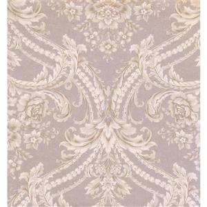York Wallcoverings Damask Traditional Wallpaper - Violet/Beige