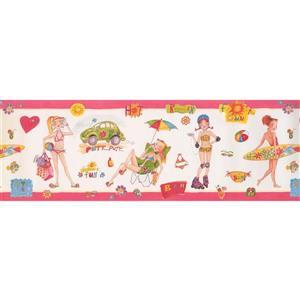 Retro Art Girls Beach Wallpaper - White/Pink