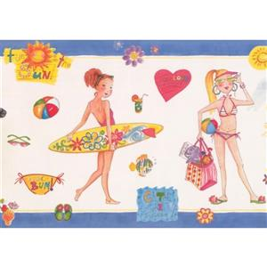 Retro Art Girls Beach Wallpaper Border - White/Blue