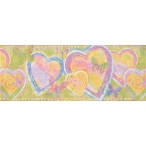 Retro Art Heart and Butterfly Abstract Wallpaper