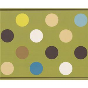 Retro Art Polka Dot Wallpaper - Green