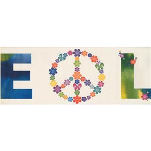 Retro Art Peace and Love Wallpaper Border