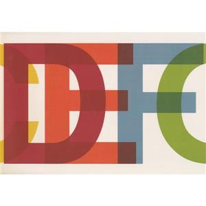 Retro Art Alphabet Wallpaper Border - Multicolored
