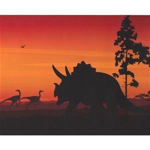 Retro Art Prehistoric Dinosaur Wallpaper - Orange