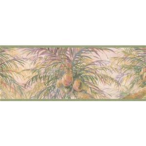 Retro Art Coconuts and Palm Tree Wallpaper Border - Blush Pink