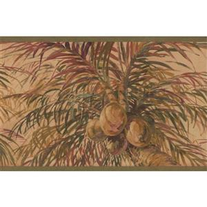 Retro Art Coconuts and Palm Trees Wallpaper Border - Gold