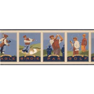 York Wallcoverings Vintage Golf Pictures Wallpaper Border
