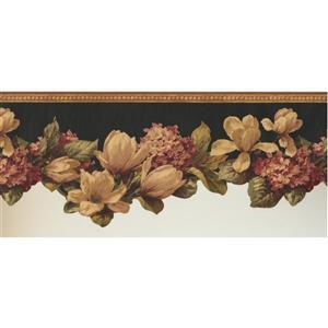 Retro Art Flower Wallpaper Border - Pink/Beige