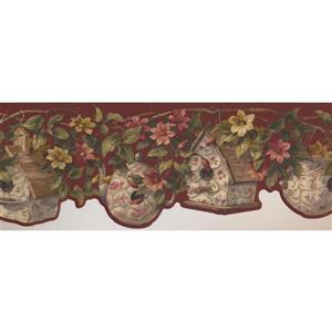 Retro Art Birdhouse and Vine Wallpaper - Pink