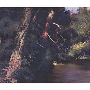 Retro Art Forest and River Wallpaper Border