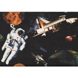 Retro Art Astronaut and Spaceship Wallpaper