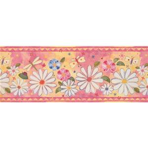 Retro Art Flowers and Dragonflies Wallpaper - Pink