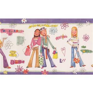 Retro Art Girl Power Wallpaper Border