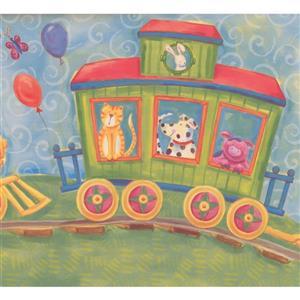 Retro Art Kids Cartoon Animals on Train Wallpaper