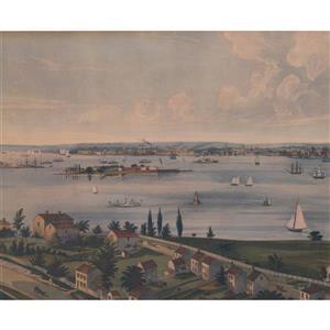 Retro Art Industrial City on River Wallpaper
