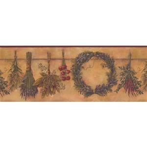 Retro Art Herbs and Wreath Vintage Wallpaper