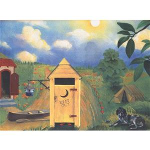 Retro Art Country Side Vegetable and Fruits Wallpaper