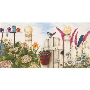 Retro Art Country White Fence Wallpaper