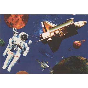 Retro Art Astronaut and Spaceship Wallpaper - Navy