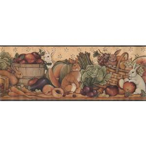 Retro Art Rabit and Vegetable Baskets Wallpaper