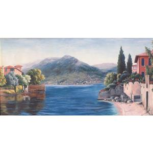 Retro Art Mountain Village on Lake Wallpaper Border