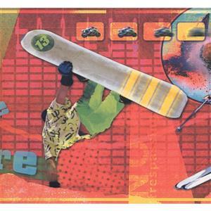 Retro Art Snowboarder Wallpaper - Multicoloured