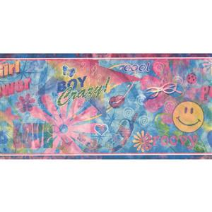 Retro Art Abstract Girl Wallpaper - Pink/Blue