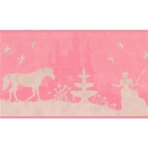 York Wallcoverings Princess Castle and Horse Wallpaper Border - Pink
