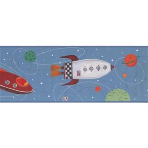 York Wallcoverings Kids Rocket and Spaceship Wallpaper Border - Blue