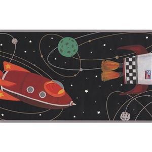 York Wallcoverings Kids Rocket and Spaceship Wallpaper Border - Black