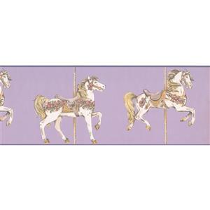York Wallcoverings Horse Carousel Wallpaper Border - Purple