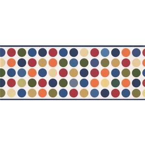 Retro Art Colourful Circles Wallpaper Border - White