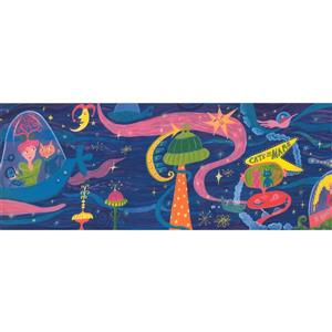 Retro Art Cats on Mars Wallpaper Border - Blue