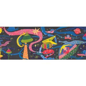 Retro Art Cats on Mars Wallpaper Border - Black