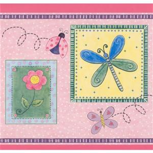 Retro Art Flowers and Butterflies Wallpaper - Pink