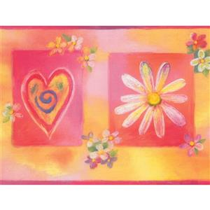 Retro Art Hearts and Flowers Wallpaper - Pink