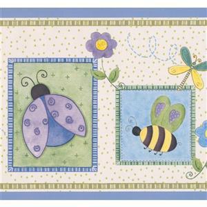 Retro Art Bee and Ladybug Wallpaper